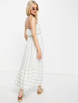 Gestreepte midi-jurk met halternek-Wit