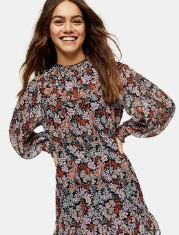 Mini jurk met aangerimpelde schouderpas-Meerkleurig