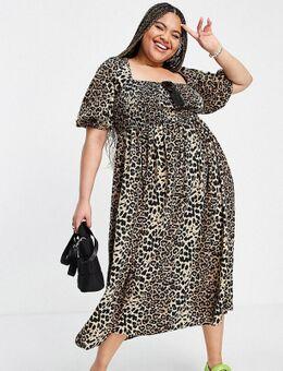 Lola May Plus - Midi jurk met pofmouwen en luipaardprint-Veelkleurig