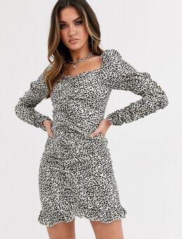 Mini-jurk met vierkante hals in bruin met luipaardprint-Multi