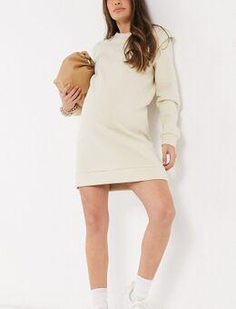 Pieces - Zwangerschapskleding - Sweaterjurk met schoudervullingen in crème