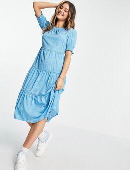 Midi-jurk met gelaagde zoom met stippen in blauw