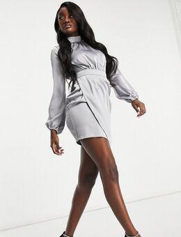 Satijnen asymmetrische mini-jurk met volumineuze mouwen in leigrijs