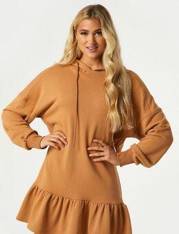 Exclusives - Mini-sweaterjurk met ruches en capuchon in camel-Bruin