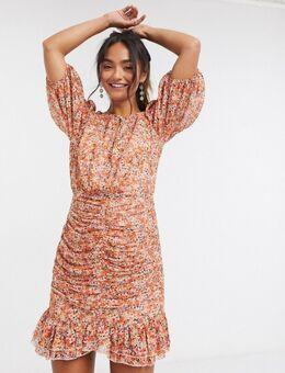 Mini-jurk met fladderzoom en bloemenprint in oranje-Meerkleurig