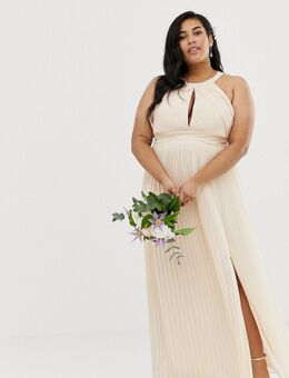 TFNC - Plus - Bruidsmeisjes - Exclusieve lange geplooide jurk in parelroze