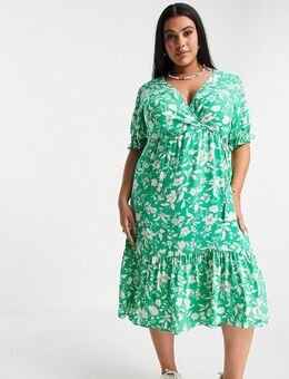 New Look Curve - Midi jurk met korte mouwen, gesmokte manchetten en bloemenprint in groen