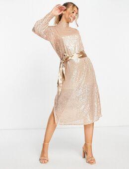 Midi-jurk met gestrikte taille en lovertjes in goud