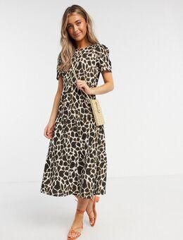 Gelaagde midi-jurk met giraffeprint-Multi