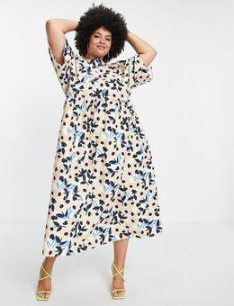 Curve - Midi jurk van katoen met bloemenprint-Veelkleurig