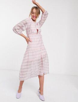Geruite midi-jurk met verlaagde taille-Roze