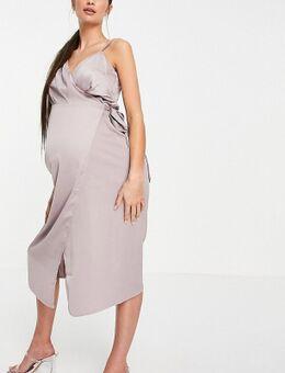 Satijnen midi-jurk met overslag in oestergrijs