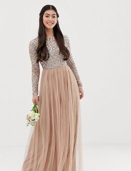 Lange tule bruidsmeisjesjurk met lange mouwen en lovertjes in dezelfde kleur in zachtroze-Bruin