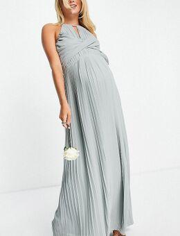 Bruidsmeisjes - Geplooide maxi jurk met overslag in saliegroen