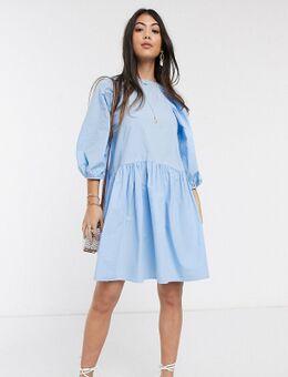 Oversized aangerimpelde poplin jurk in blauw