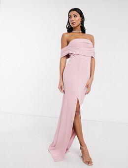 Lange, schouderloze rechte jurk met plooien in lichtroze