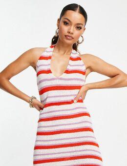 ASOS DESIGN Petite - Gebreide mini jurk met halternek en strepen in multi-Meerkleurig