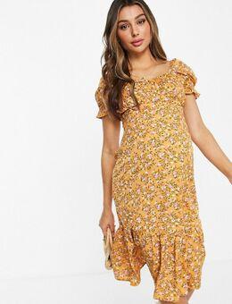 Midi-jurk met bloemenprint in geel