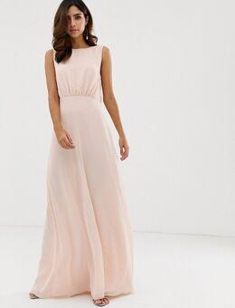 Lange bruidsmeisjesjurk met gedrapeerde lage acterkant-Roze
