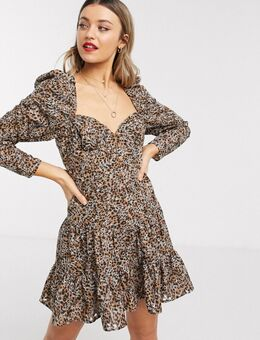 Broderie mini-jurk met hartvormige halslijn en luipaardprint-Meerkleurig