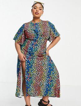 Exclusives - Midi jurk met fladdermouwen en luipaardprint in meerdere kleuren-Veelkleurig