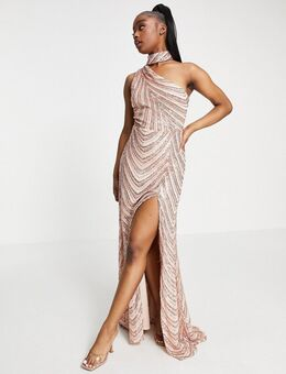 Lange jurk met choker en split tot de dij in perzikgoud