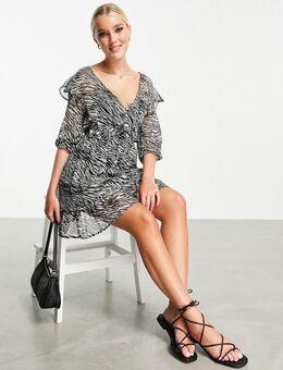 Mini jurk met V-hals en zebraprint-Veelkleurig