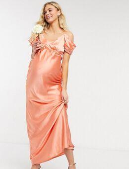 Bruidsmeisjes - Satijnen midaxi slipdress met blote schouder in perzik-Roze
