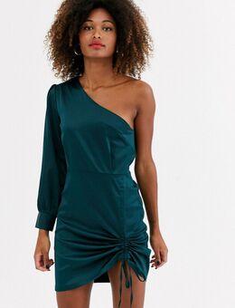 Mini-jurk met blote schouder en ruches-Groen