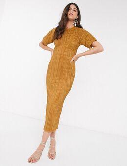 Closet - Halflange plissé jurk in mosterdgeel