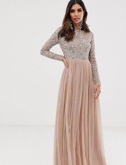 Bridesmaid - Maxi-jurk met lange mouwen van tule met lovertjes in dezelfde tint in zachtroze-Bruin