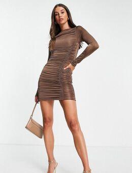 Soepelvallende mini-jurk met lange mouwen en rimpeleffect in bruin