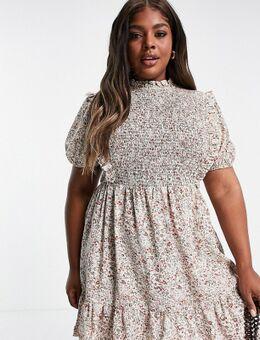 Urban Threads Plus - Mini-jurk met borststuk en bloemenprint-Wit