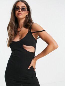 Geribbelde mini jurk met bandjes in zwart