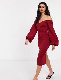 ASOS DESIGN Tall - Midi jurk met verlaagde schouder en ballonmouwen in wijnrood-Paars