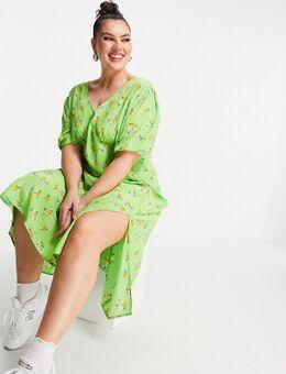 Nette midi jurk met pofmouwen en split aan de voorkant in heldere bloemenprint-Groen