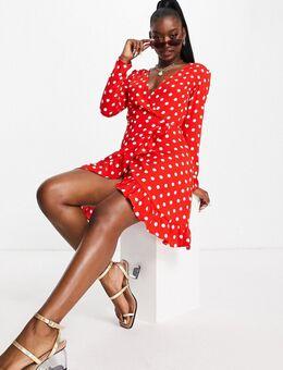 Mini-jurk met stippen in rood