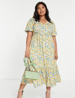 X Stacey Solomon - Gelaagde midi-jurk met gele bloemen-Veelkleurig