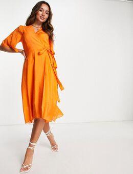 Hazini - Midi jurk met overslag voor in oranje