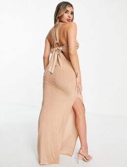 Lange jurk met overslag, halternek en gespdetail op rug in goudkleur