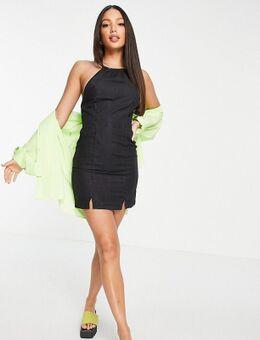 ASOS DESIGN Tall - Slipdress met halternek van zacht denim met zwart