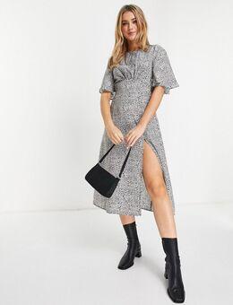 Nette jurk met split bij het been in dierenprint-Veelkleurig