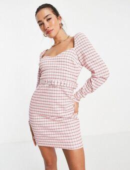 Mini jurk met lange mouwen van bouclé in roze