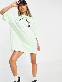 ASOS - Weekend Collective - Oversized T-shirtjurk met gekleurd logo in limoen-Groen