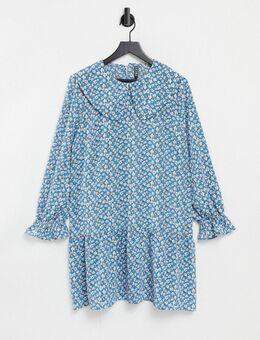 Mini aangerimpelde jurk met uitvergrote kraag in blauw met fijne bloemenprint-Meerkleurig