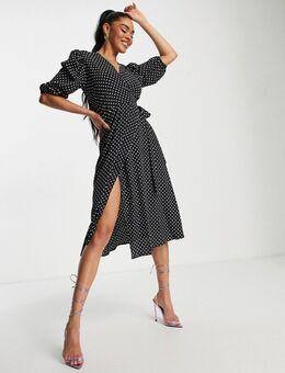 Midi jurk met overslag in zwart met polkadots