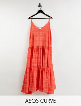 Curve - Lange jurk van organza met stroken en camibandjes in tomaatrood geruit