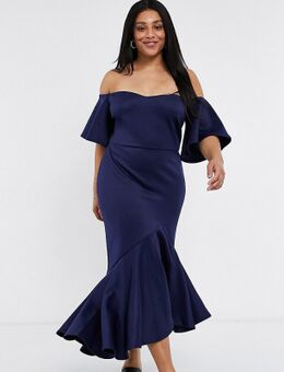 Midi jurk met bardot-halslijn en strook in marineblauw