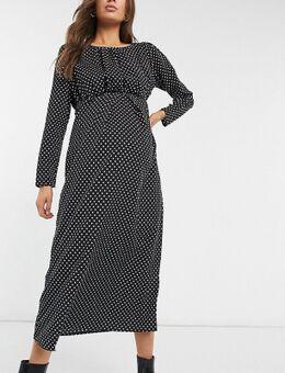Mamalicious - Lange zwangerschapsjurk in zwart met polkadot-Verschillende kleuren