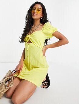 Mini-jurk met pofmouwen, uitsnijding en hoornen knopen in geel